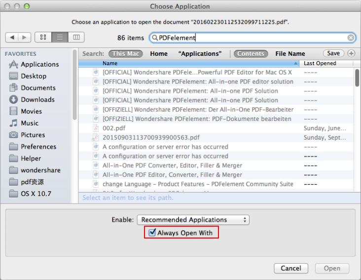 更改PDF的默认打开程序
