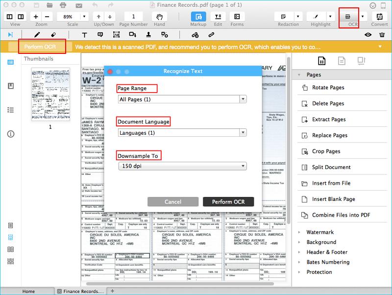 PDFelement的OCR功能使用示意图