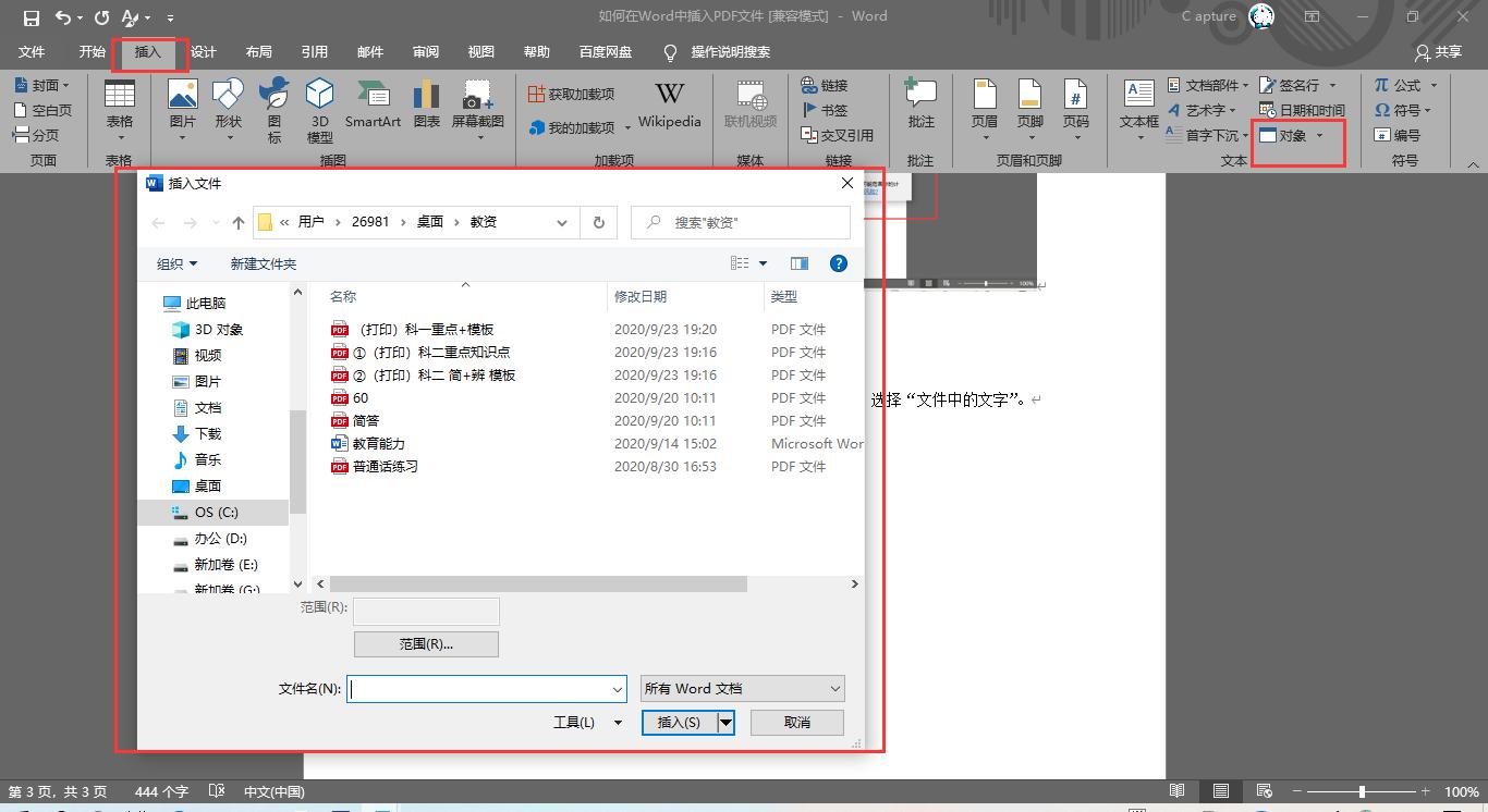 在Word中插入PDF文件步骤5