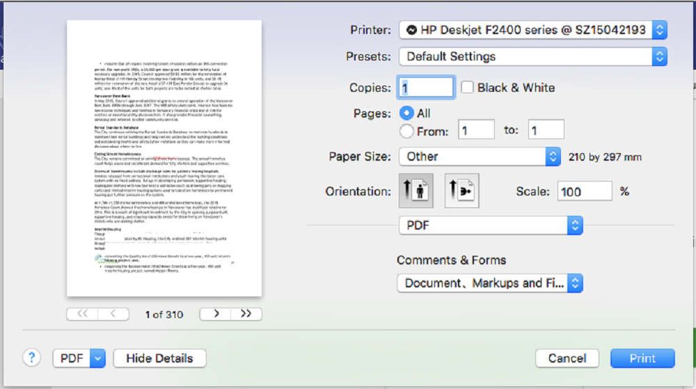 print comments in pdf