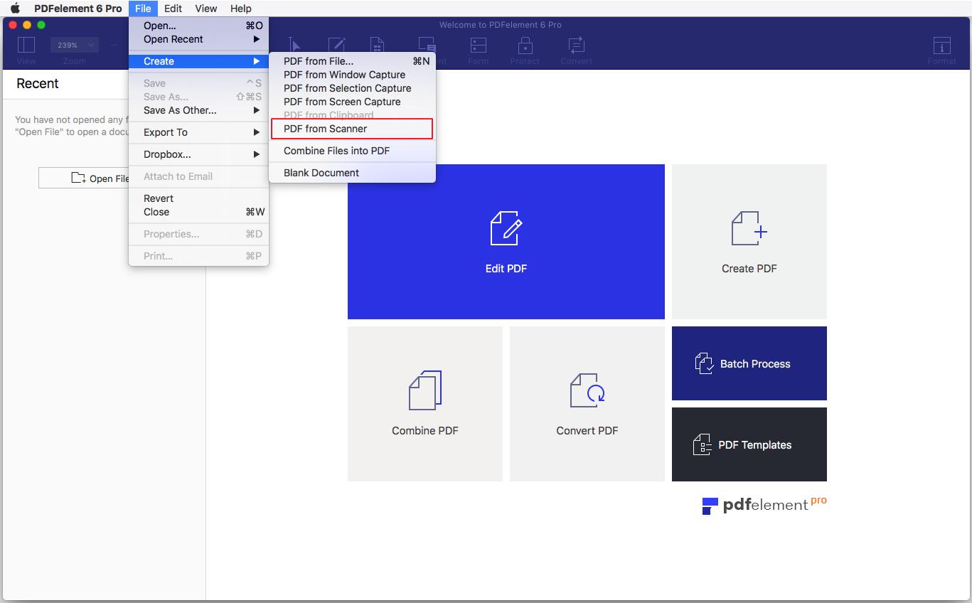 从扫描仪创建PDF界面截图