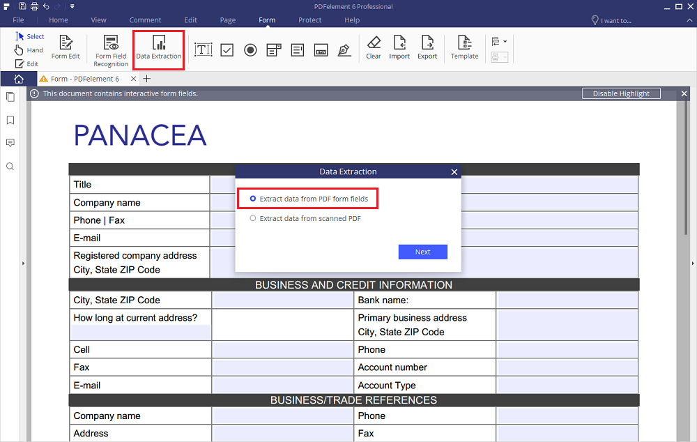 pdf form data to excel