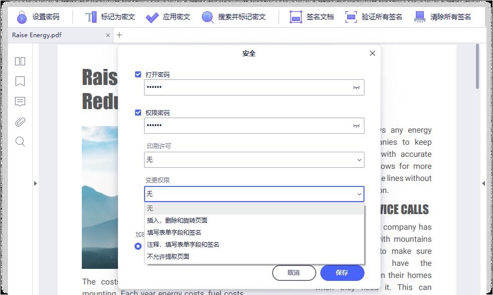 PDF编辑器功能之密码保护